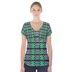 Pattern Tile Green Purple Short Sleeve Front Detail Top