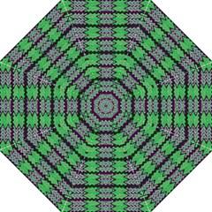 Pattern Tile Green Purple Straight Umbrellas by BrightVibesDesign