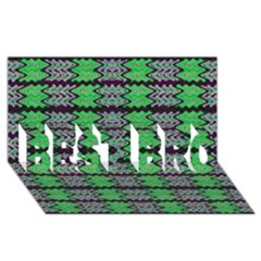 Pattern Tile Green Purple Best Bro 3d Greeting Card (8x4)  by BrightVibesDesign