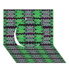 Pattern Tile Green Purple Circle 3d Greeting Card (7x5)  by BrightVibesDesign
