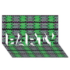 Pattern Tile Green Purple Party 3d Greeting Card (8x4)  by BrightVibesDesign