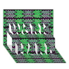 Pattern Tile Green Purple Work Hard 3d Greeting Card (7x5)  by BrightVibesDesign