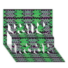 Pattern Tile Green Purple You Rock 3d Greeting Card (7x5)  by BrightVibesDesign