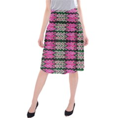 Pattern Tile Pink Green White Midi Beach Skirt