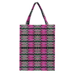 Pattern Tile Pink Green White Classic Tote Bag by BrightVibesDesign