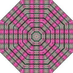 Pattern Tile Pink Green White Golf Umbrellas by BrightVibesDesign