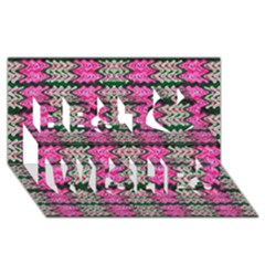 Pattern Tile Pink Green White Best Wish 3d Greeting Card (8x4)  by BrightVibesDesign