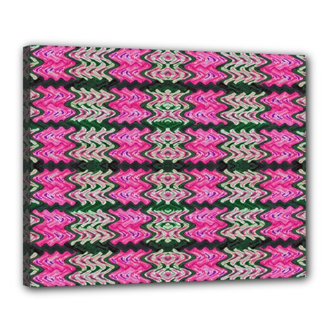 Pattern Tile Pink Green White Canvas 20  X 16  by BrightVibesDesign
