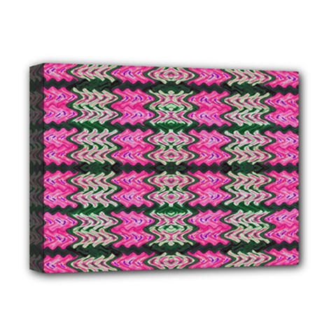 Pattern Tile Pink Green White Deluxe Canvas 16  X 12   by BrightVibesDesign