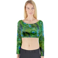 Emerald Boho Abstract Long Sleeve Crop Top by KirstenStar
