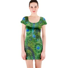 Emerald Boho Abstract Short Sleeve Bodycon Dress by KirstenStar