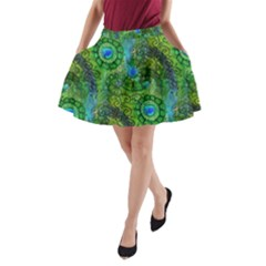 Emerald Boho Abstract A Line Pocket Skirt by KirstenStar