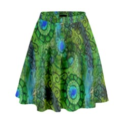 Emerald Boho Abstract High Waist Skirt by KirstenStar