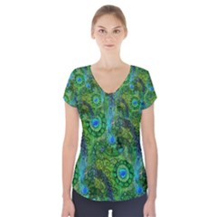 Emerald Boho Abstract Short Sleeve Front Detail Top by KirstenStar