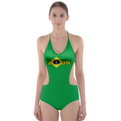 Brazil Flag Zouk Cut Out One Piece Swimsuit by LetsDanceHaveFun