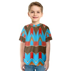Blue brown chevrons                                                                       Kid s Sport Mesh Tee by LalyLauraFLM