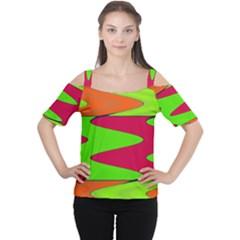 Wavy design                                                                        Women s Cutout Shoulder Tee by LalyLauraFLM