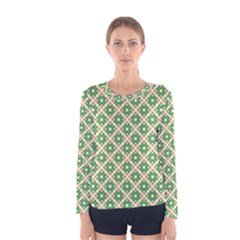 Crisscross Pastel Green Beige Women s Long Sleeve Tee by BrightVibesDesign
