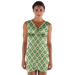 Crisscross Pastel Green Beige Wrap Front Bodycon Dress
