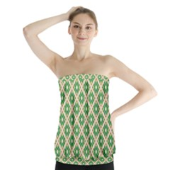 Crisscross Pastel Green Beige Strapless Top by BrightVibesDesign