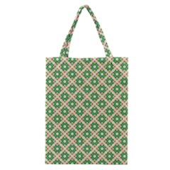 Crisscross Pastel Green Beige Classic Tote Bag by BrightVibesDesign