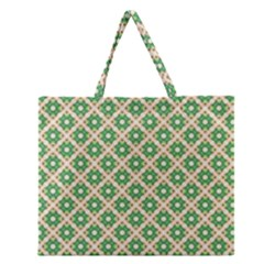 Crisscross Pastel Green Beige Zipper Large Tote Bag by BrightVibesDesign
