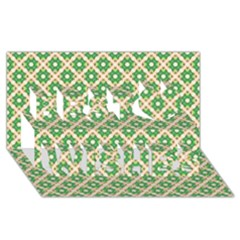 Crisscross Pastel Green Beige Best Wish 3d Greeting Card (8x4)  by BrightVibesDesign