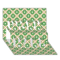 Crisscross Pastel Green Beige Work Hard 3d Greeting Card (7x5)  by BrightVibesDesign