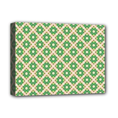 Crisscross Pastel Green Beige Deluxe Canvas 16  X 12   by BrightVibesDesign