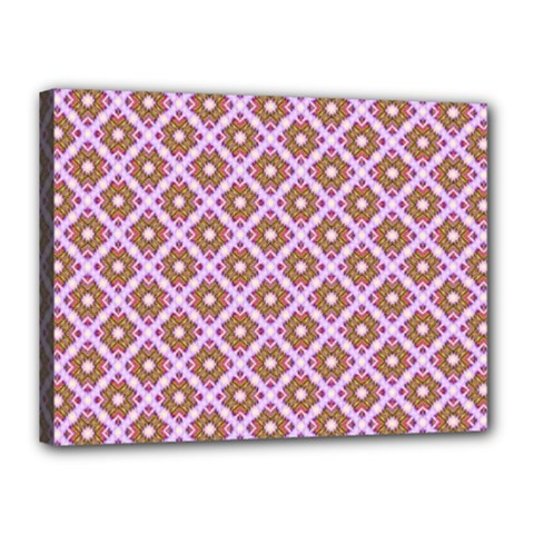Crisscross Pastel Pink Yellow Canvas 16  X 12  by BrightVibesDesign