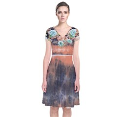 tie-dye1l Short Sleeve Front Wrap Dress by Wanni