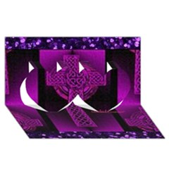 Purple Celtic Cross Twin Hearts 3d Greeting Card (8x4)  by morbidcouture