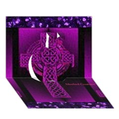 Purple Celtic Cross Apple 3d Greeting Card (7x5)  by morbidcouture
