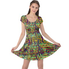 Multicolored Digital Grunge Print Cap Sleeve Dresses by dflcprintsclothing