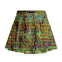 Multicolored Digital Grunge Print Mini Flare Skirt by dflcprintsclothing