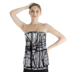 Tree Lines Strapless Top