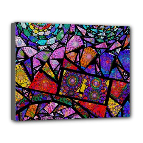 Fractal Stained Glass Canvas 14  X 11  by WolfepawFractals