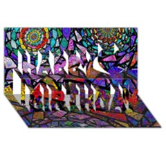 Fractal Stained Glass Happy Birthday 3d Greeting Card (8x4)  by WolfepawFractals