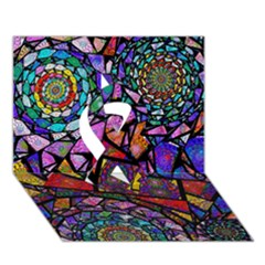 Fractal Stained Glass Ribbon 3d Greeting Card (7x5)  by WolfepawFractals