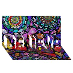 Fractal Stained Glass Believe 3d Greeting Card (8x4)  by WolfepawFractals