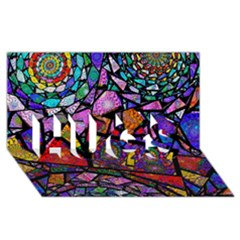 Fractal Stained Glass Hugs 3d Greeting Card (8x4)  by WolfepawFractals