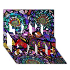 Fractal Stained Glass Take Care 3d Greeting Card (7x5)  by WolfepawFractals