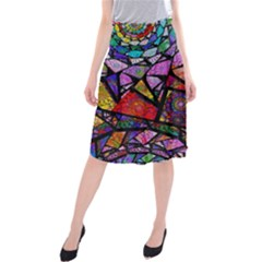 Fractal Stained Glass Midi Beach Skirt by WolfepawFractals