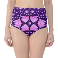 Magic Lotus In A Landscape Temple Of Love And Sun High Waist Bikini Bottoms by pepitasart