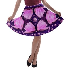 Magic Lotus In A Landscape Temple Of Love And Sun A Line Skater Skirt