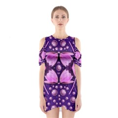 Magic Lotus In A Landscape Temple Of Love And Sun Cutout Shoulder Dress by pepitasart