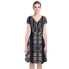 Vertical Stripes Tribal Print Short Sleeve Front Wrap Dress