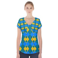 Blue Yellow Rhombus Pattern            Short Sleeve Front Detail Top
