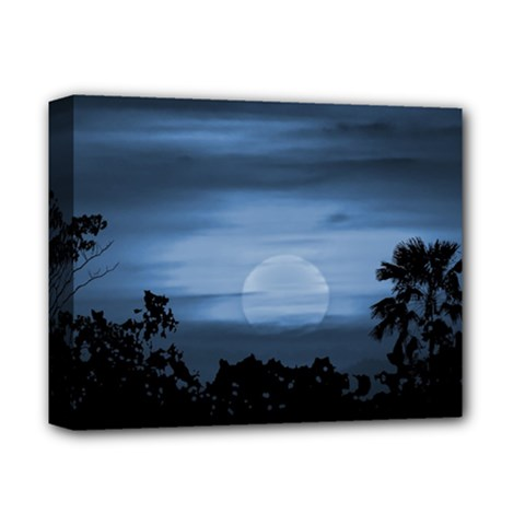 Moonscape Silhouette Ilustration Deluxe Canvas 14  X 11