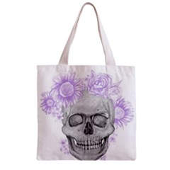 Lilac Floral Skull  Zipper Grocery Tote Bag